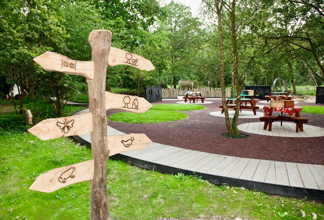 Wooden makaton sign to help communication and guide the children around the garden