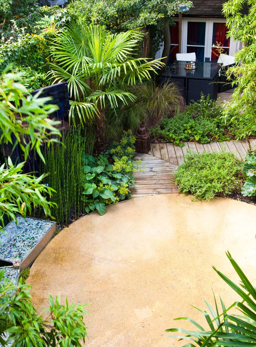 Architectural trachyspermum palms and bamboo creating atmosphere in small courtyard town garden design by Ann-Marie Powell