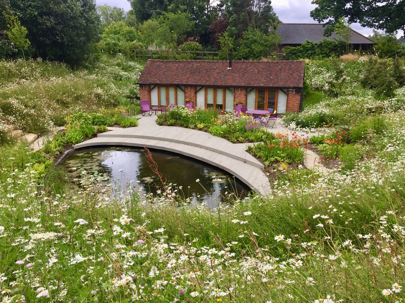 Wildlife friendly garden design with wildflower meadow sloping banks down to large pond to attract pollinators