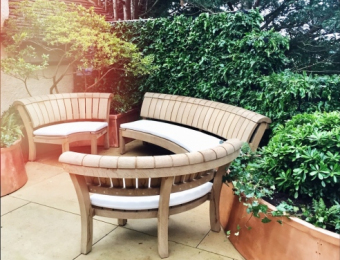 Curved wooden benches