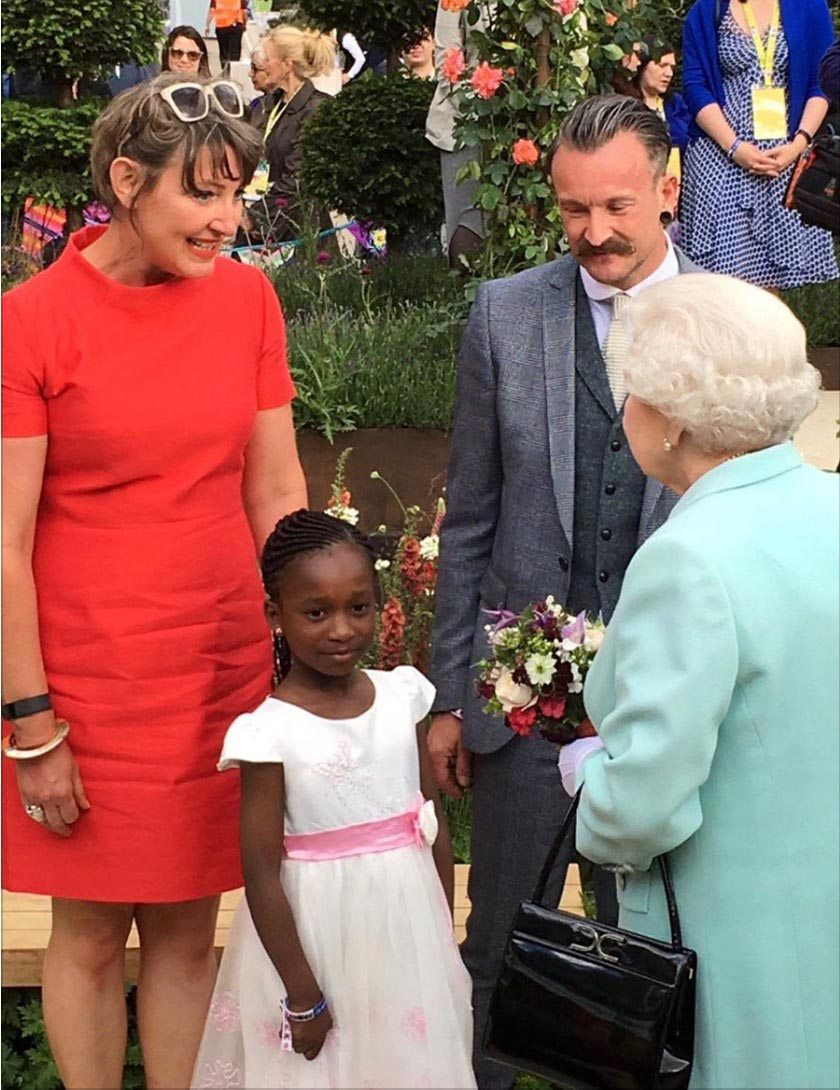 RHS 2016 garden designer Ann-Marie Powell introduced to Her Majesty The Queen with Director General Sue Biggs.