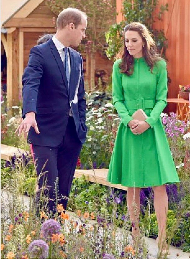 Duke and Duchess of Cambridge on RHS garden at Chelsea Flower show 2016 designed by Ann-Marie Powell Gardens, Petersfield.