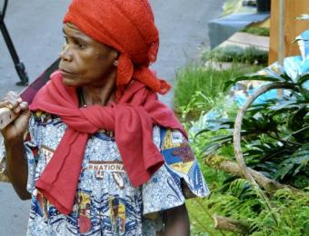 Baka woman onsite at Chelsea