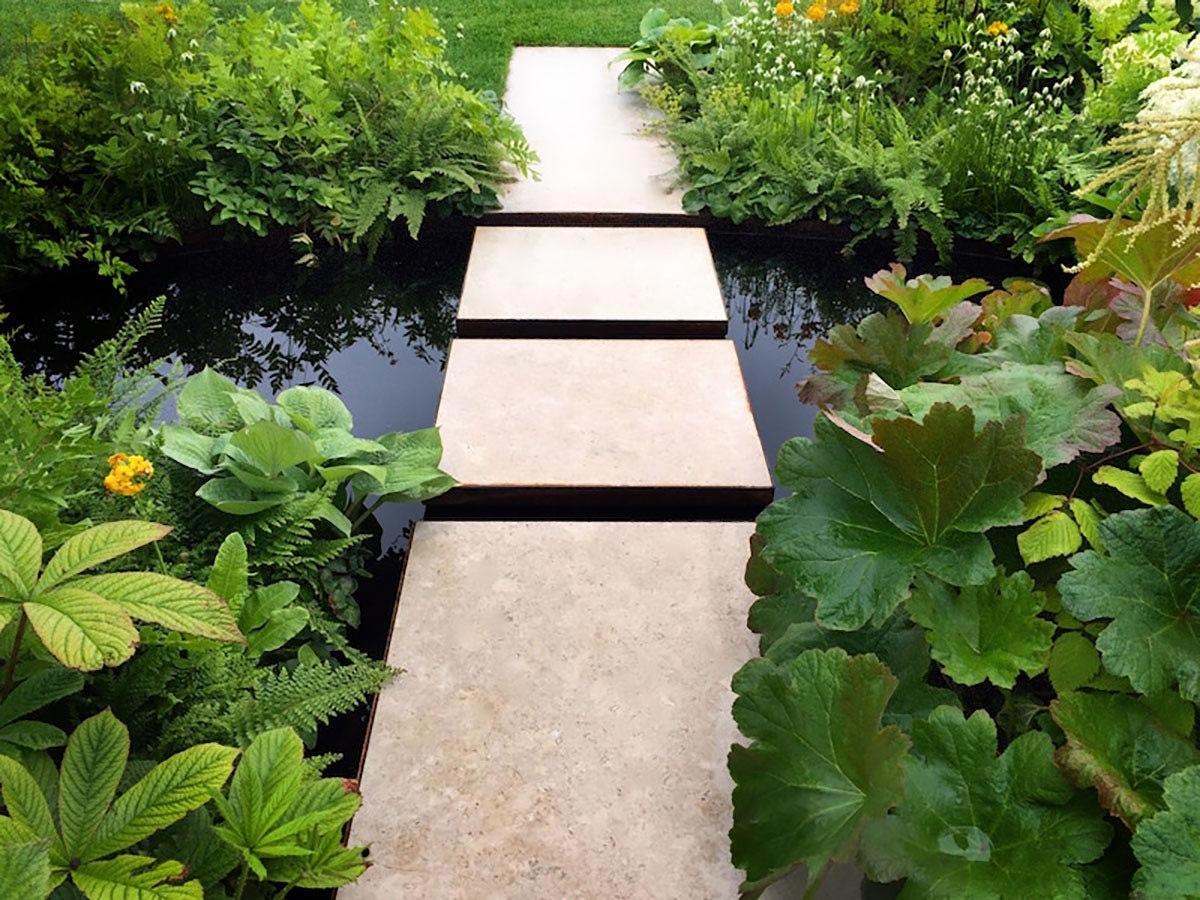 Natural contemporary garden pond idea, design by Ann-Marie Powell Gardens for Macmillan at RHS Hampton Court 2015. Gold medal.