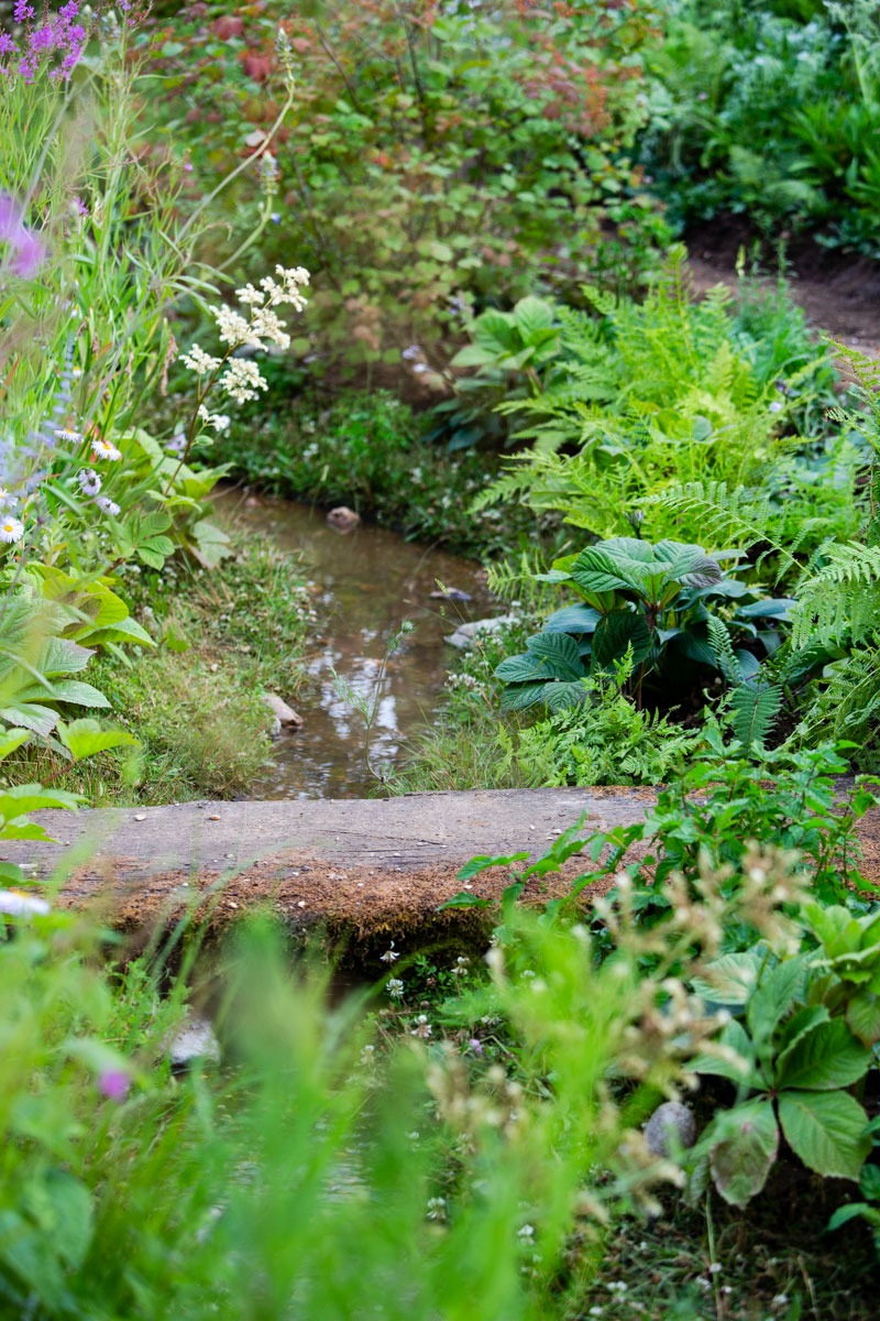 Rustic wooden bridge over gravel stream designed by Ann-Marie Powell Gardens, Petersfield, Hampshire