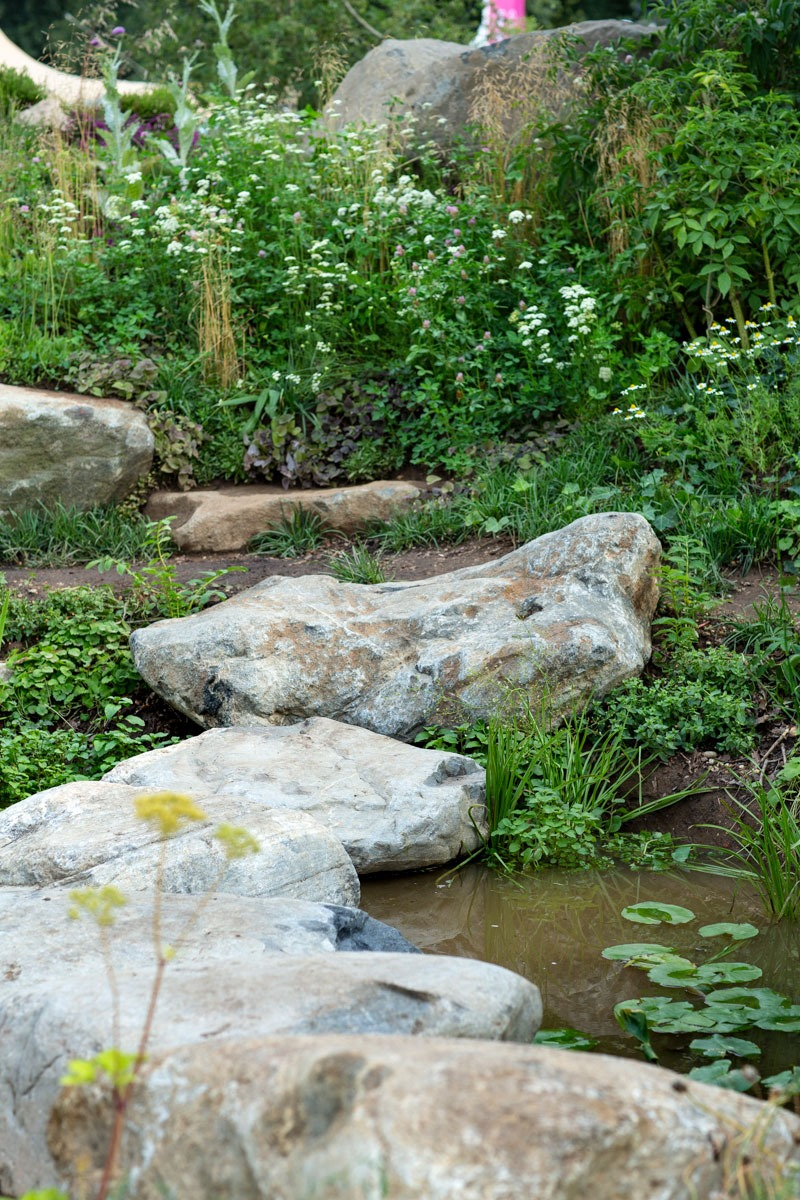 Boulder stepping stones across naturalistic wildlife pond in BBC Countryfile 30th Anniversary Show Garden by Ann-Marie Powell