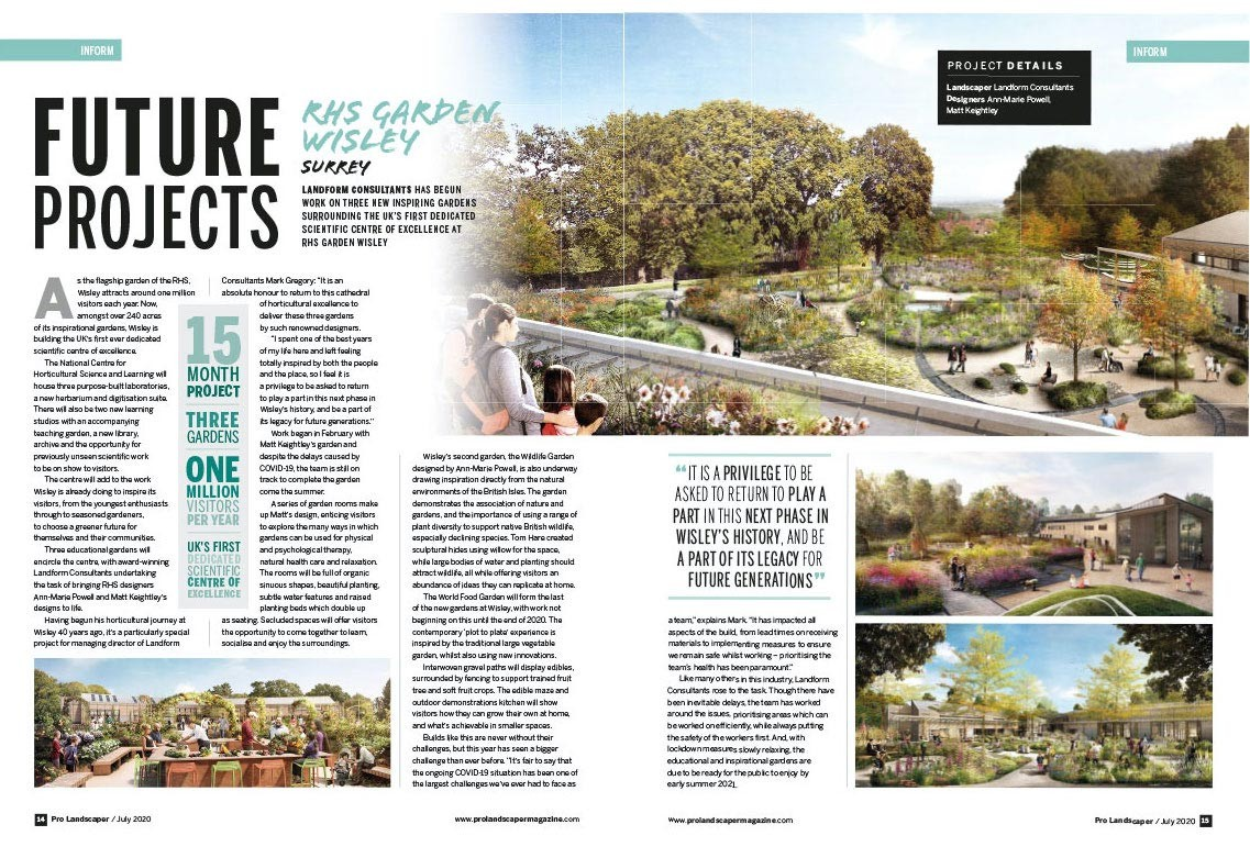 Prolandscaper magazine cover Royal Horticultural Society's wildlife and world food gardens at Wisley, design Ann-Marie Powell.