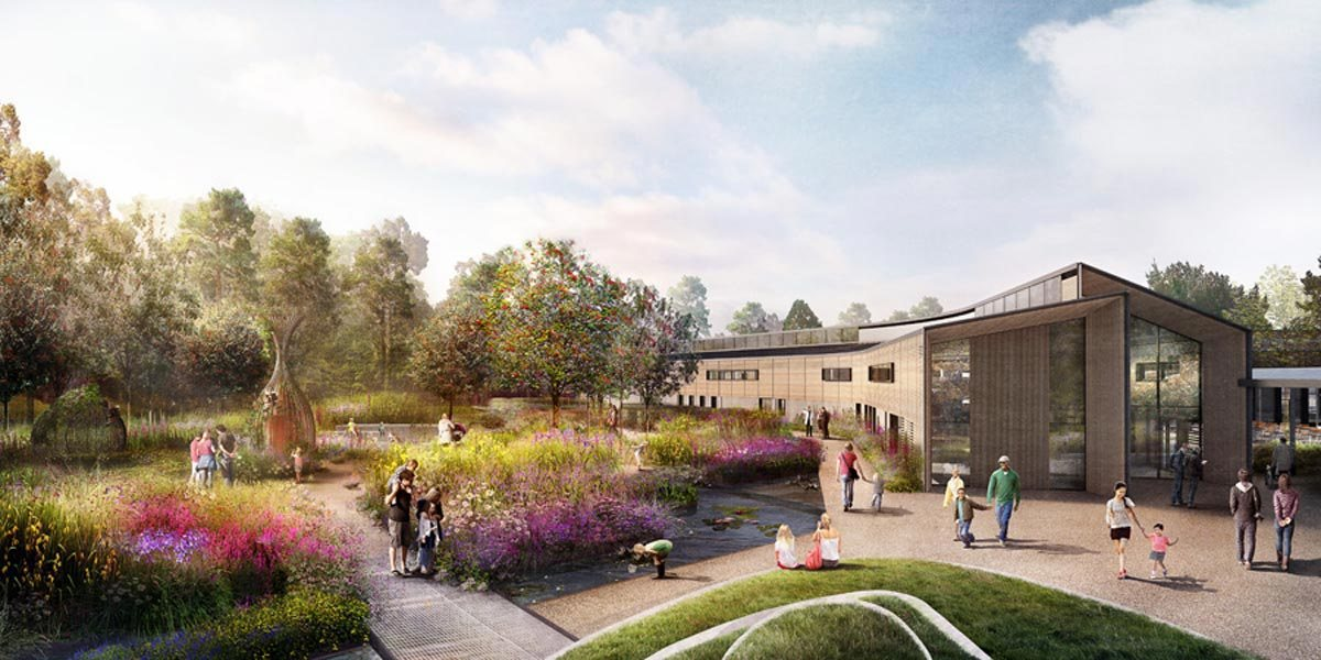 CGI drawing of new wildlife garden at Royal Horticultural Society, RHS Wisley, Surrey designed by Ann-Marie Powell Gardens.