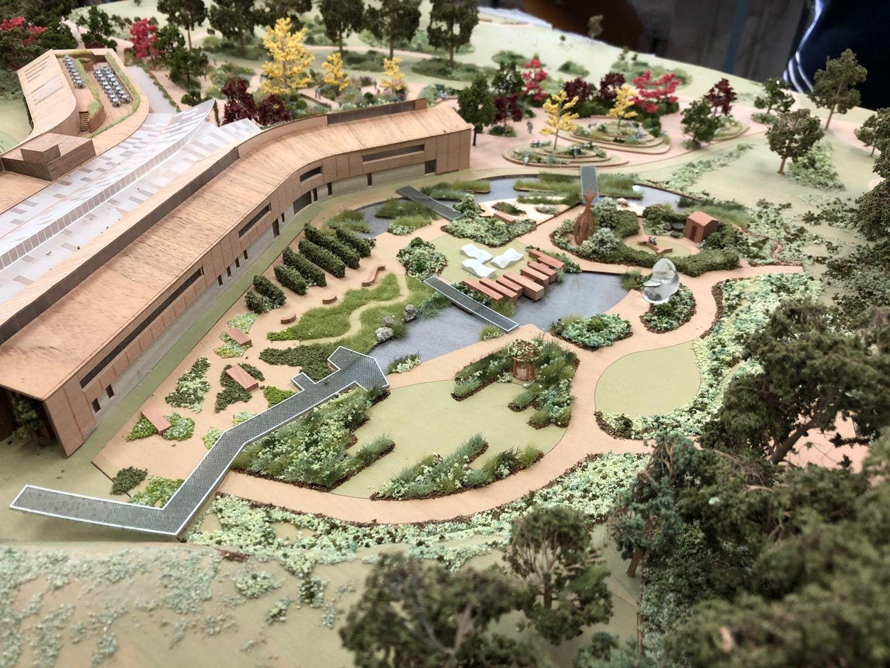 Model of new wildlife garden at Royal Horticultural Society, RHS Wisley, Surrey designed by Ann-Marie Powell Gardens.