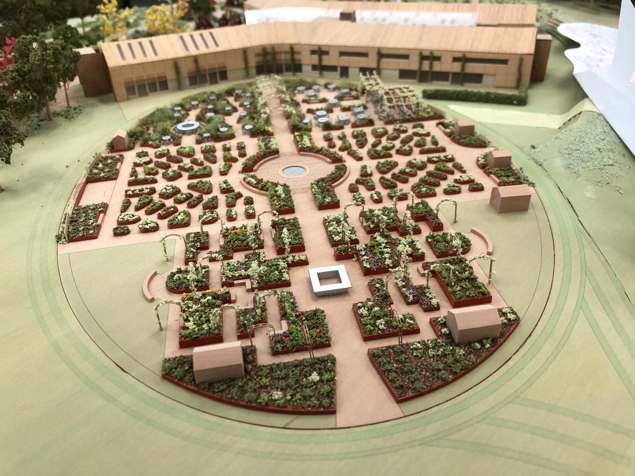 Model view of new world food garden at Royal Horticultural Society, RHS Wisley, Surrey design by Ann-Marie Powell Gardens.