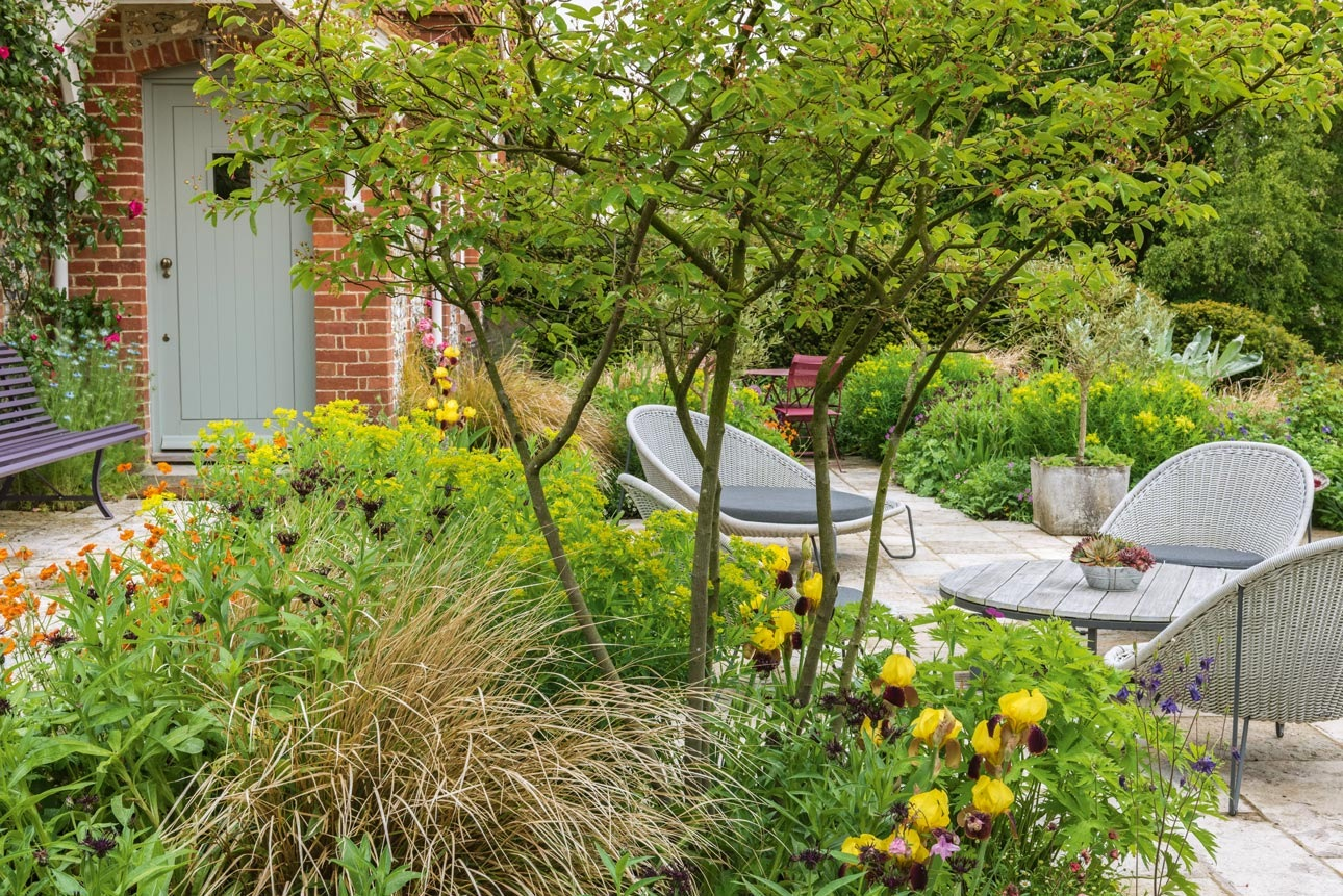 Relaxed garden terrace with low Borek sofas, Willy Gohl planters, Iris 'Rajah', euphorbia and Amelanchier, design by AMPG.