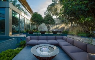 Water bowls and fire pit in Luxury hotel spa garden designed by Ann-Marie Powell