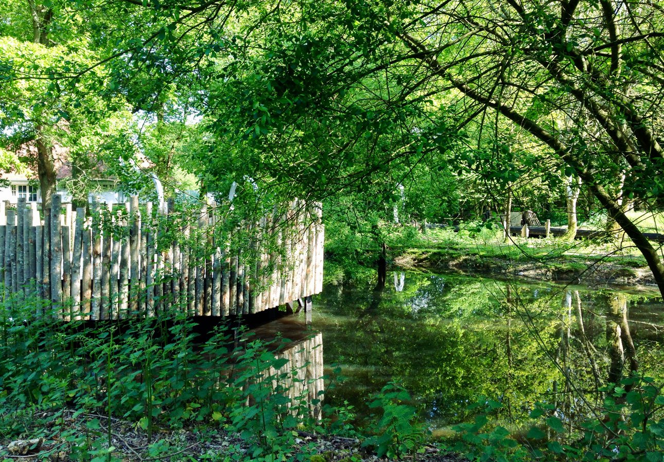 Timber decking platform over wildlife pond with unstripped rustic poles providing safety barrier