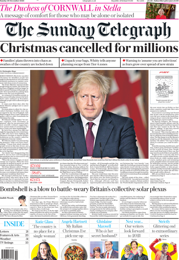 Daily Telegraph 20th December 2020 cover