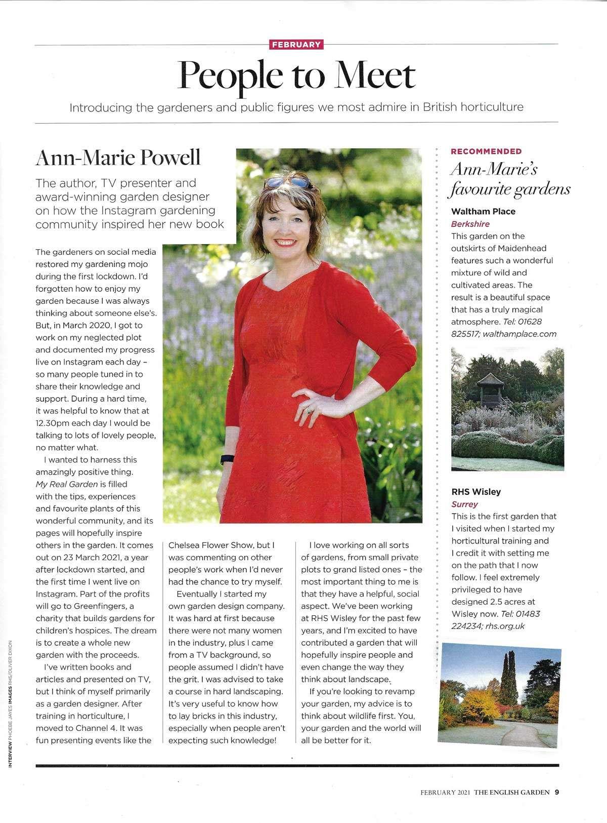 Hampshire designer Ann-Marie Powell in The English Garden magazine February 2021