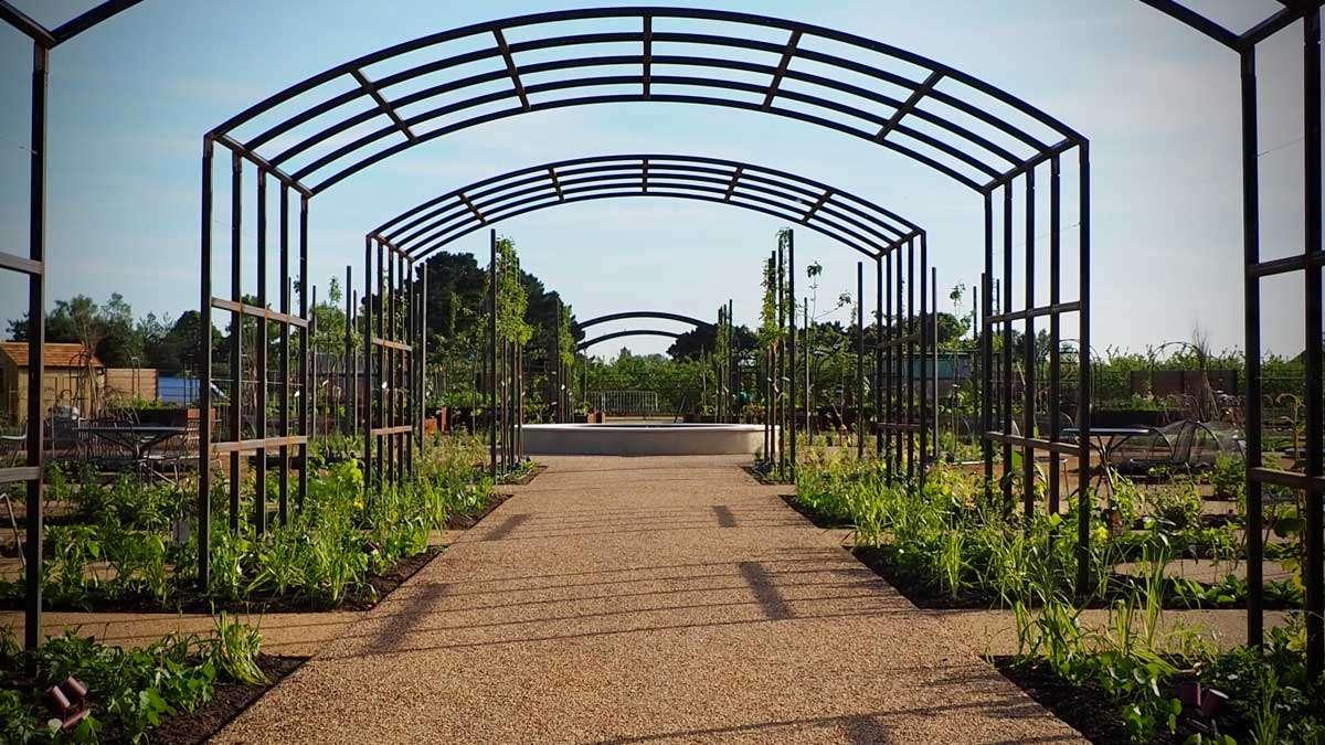 RHS Wisley Food Garden Arches designed by Ann-Marie Powell\
